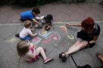 Straßenmalerei mit Heidi